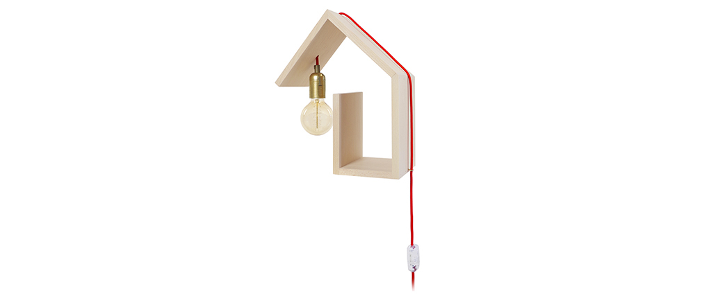 Applique murale design fixation gauche cordon rouge HUT