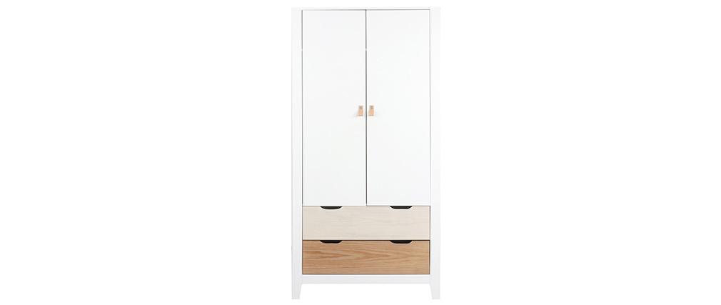 Armoire scandinave avec penderie et tiroirs bois blanc MOLENE