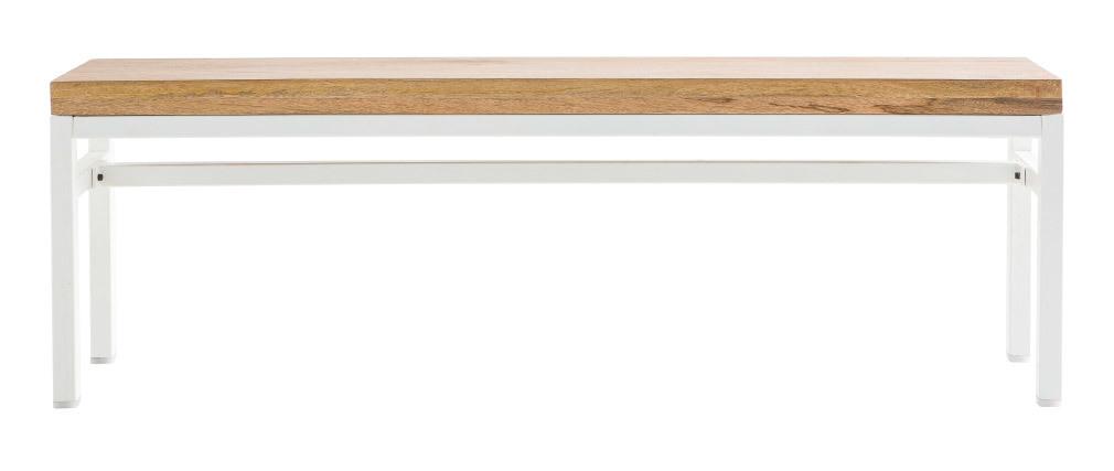 Banc design manguier massif et métal blanc 140 cm BOHO