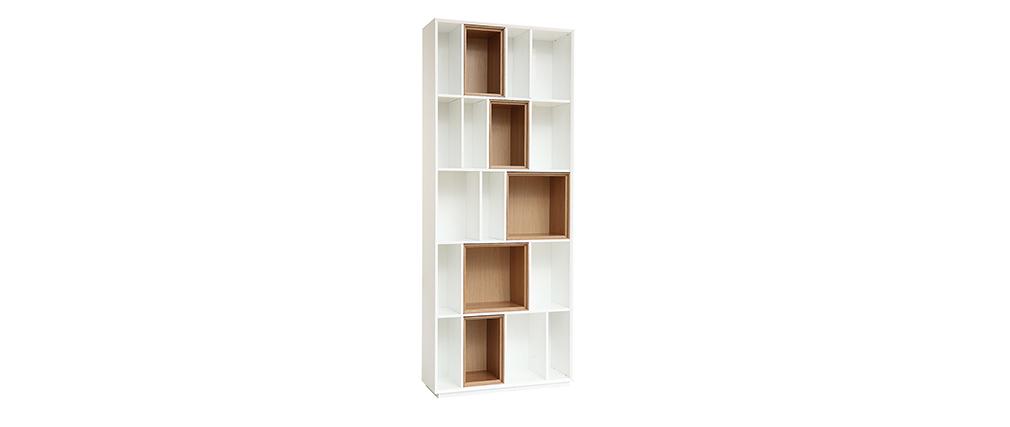 Bibliothèque design modulable blanc et chêne JAZZ