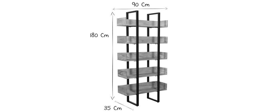 Bibliothèque industrielle en acacia massif et métal noir L90 cm TAO
