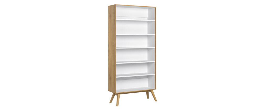 Bibliothèque scandinave chêne et blanc POTTER