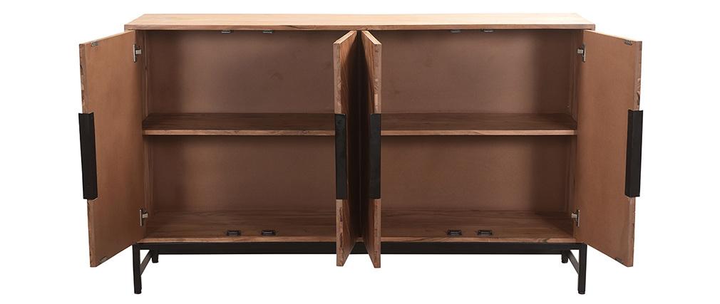 Buffet 4 portes en acacia massif et métal noir STICK