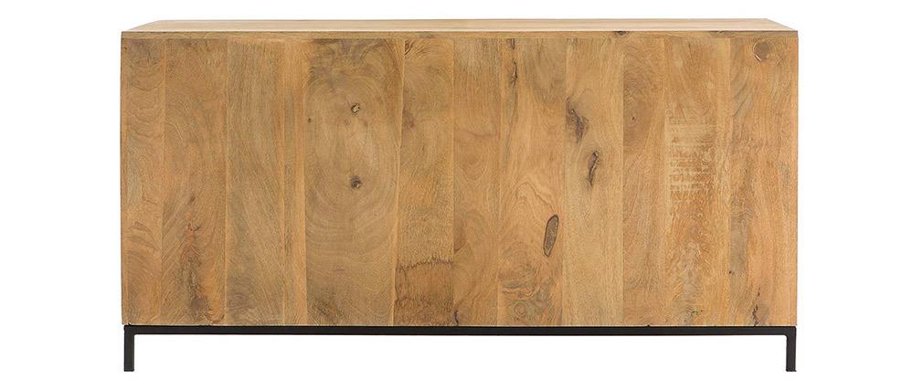 Buffet bas industriel en bois de manguier massif et métal perforé RACK