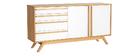 Buffet bois naturel et blanc 2 portes 4 tiroirs HELIA