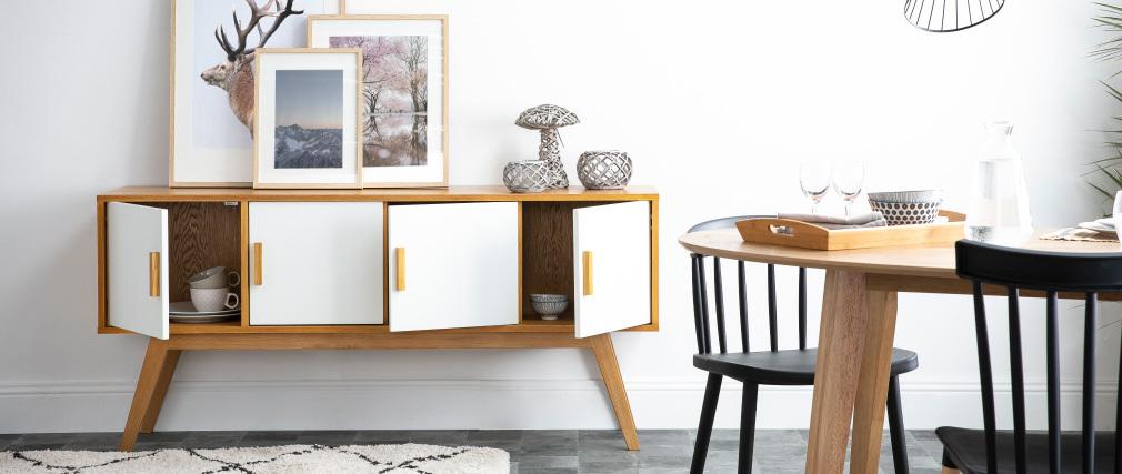 Buffet bois naturel et blanc 4 portes HELIA