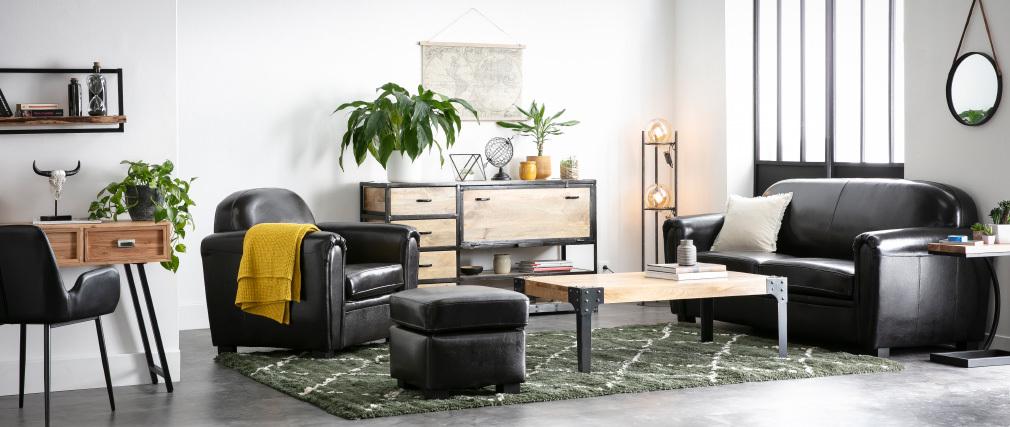 Buffet design industriel bois massif INDUSTRIA