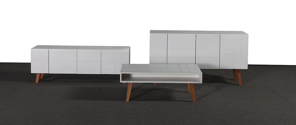 Buffet design laqué blanc mat et bois ADORNA