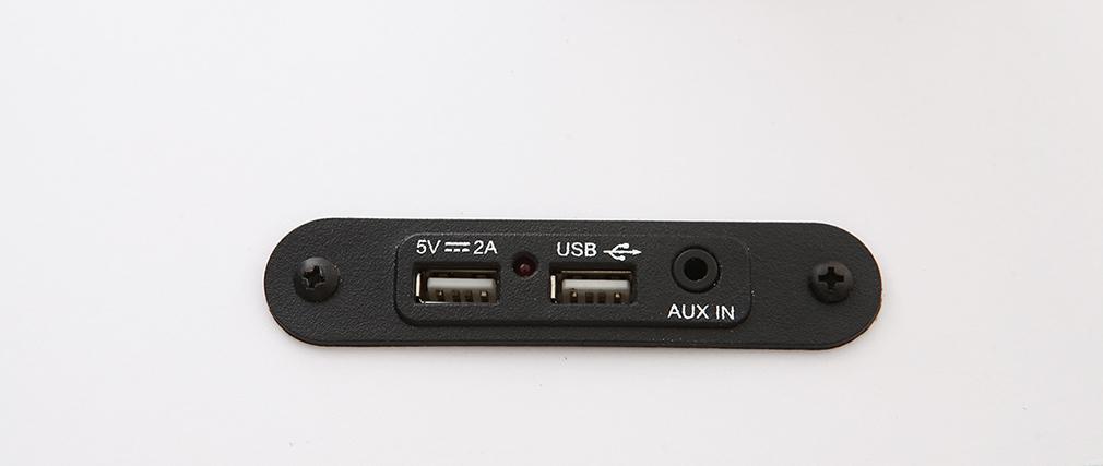 Bureau connecté multimédia en verre noir et métal blanc CLEVER