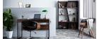 Bureau design avec plateau coulissant bois et gris QUINT