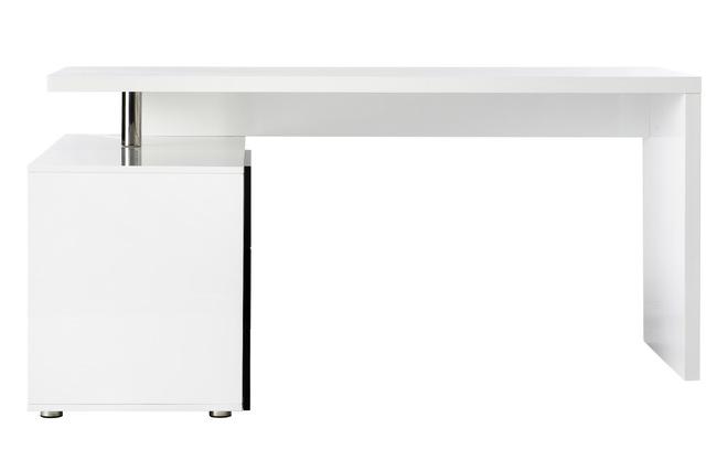 Bureau design blanc et noir laqué rangements côté gauche maxi