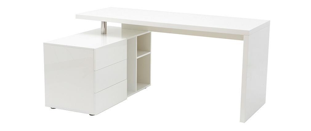 Bureau design blanc laqué rangements à gauche MAXI