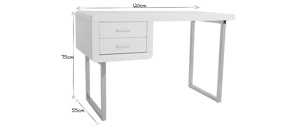 Bureau design blanc laqué ROXI