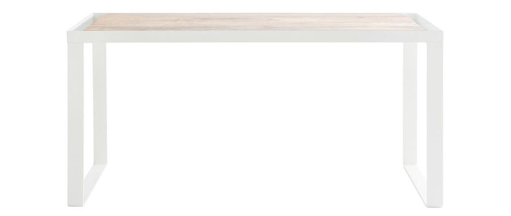 Bureau design manguier et métal blanc PUKKA