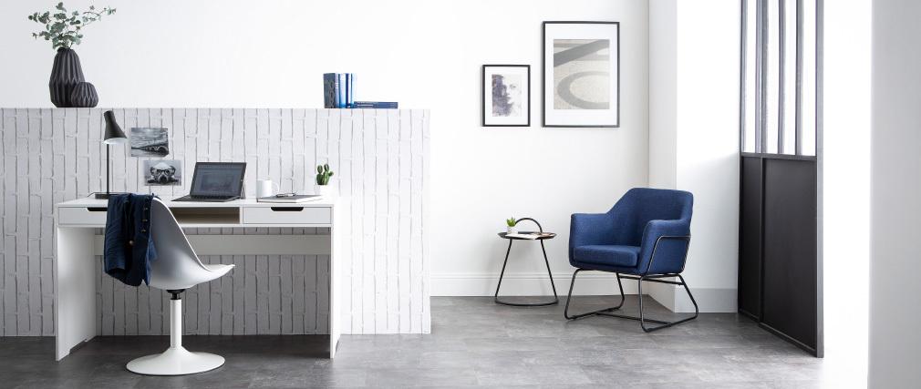 Bureau design pin blanc 2 tiroirs HARVARD
