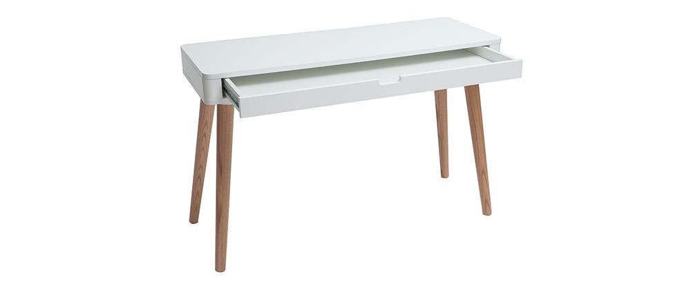 Bureau design scandinave blanc et bois L115 cm TOTEM