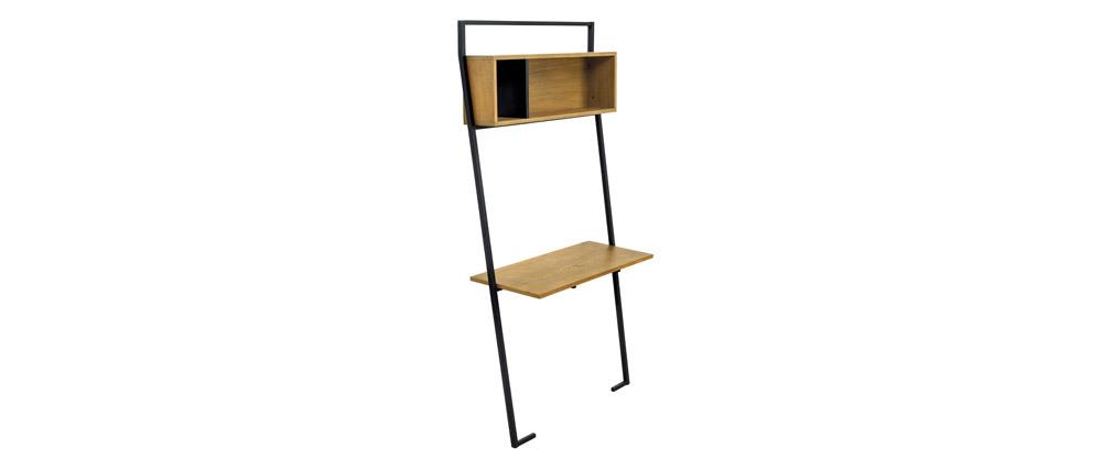 Bureau - étagère bois et métal noir SERAH