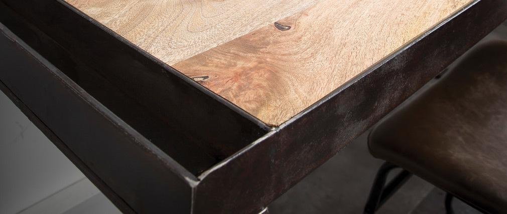 Bureau industriel en bois massif et métal L156 cm INDUSTRIA