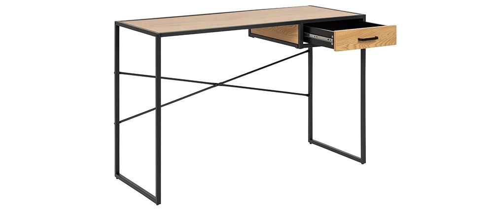 Bureau industriel métal noir et bois TRESCA