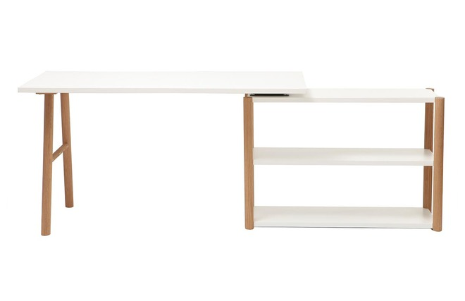 Bureau pivotant design scandinave blanc et chêne gilda miliboo