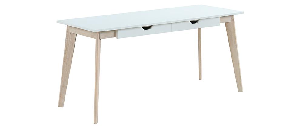Bureau scandinave avec tiroirs bois blanc L160 LEENA