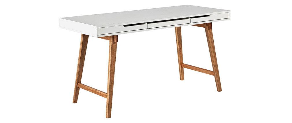Bureau scandinave blanc laqué mat et bois ESKA