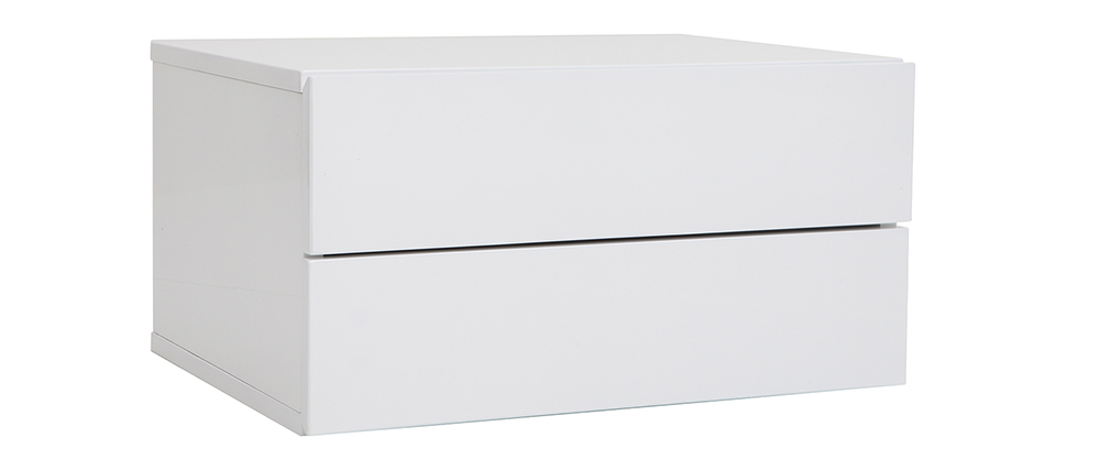 Caisson de rangement 2 tiroirs blanc laqué MAX