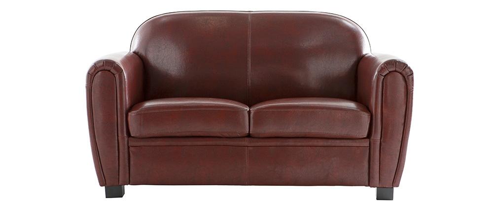 Canapé Club cuir marron clair 2 places - cuir de vachette