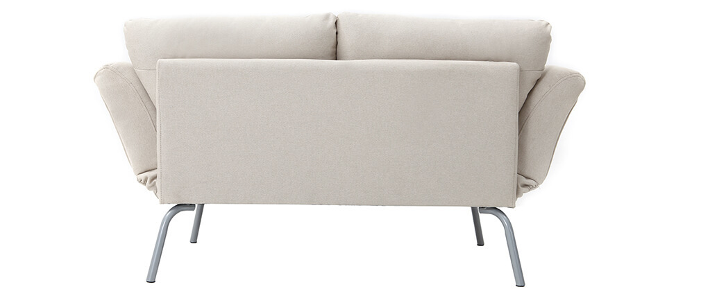 Canapé convertible 2 places design beige ELMER