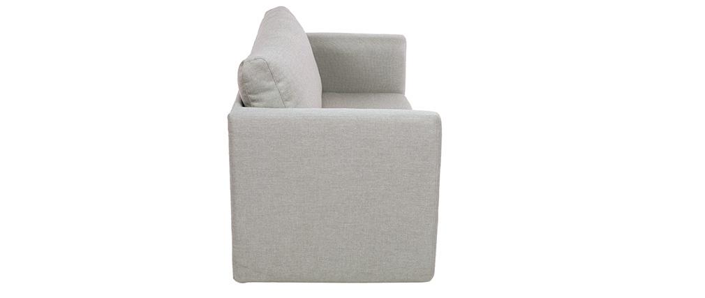 Canapé convertible 2 places en tissu gris clair LEON