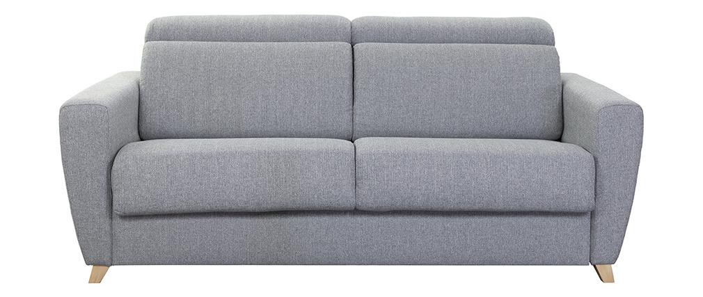 Canapé convertible 3 places avec têtières ajustables gris GOYA