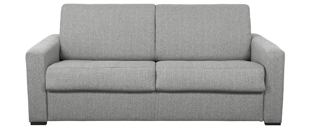 Canapé convertible avec matelas 140 cm tissu gris DOME