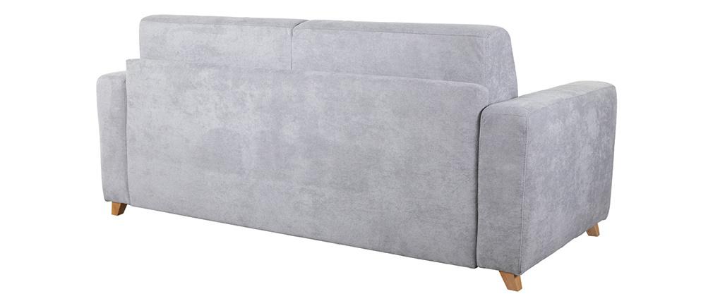 Canapé convertible scandinave 3 places effet velours gris SVEN