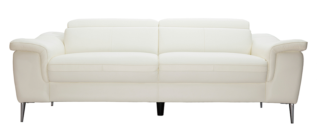 Canapé cuir 3 places blanc cassé avec têtières ajustables ROMEO - cuir de buffle