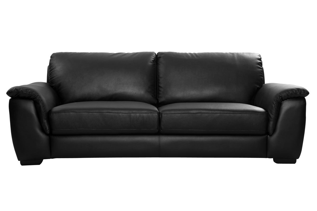 Canap cuir design noir 3 places memphis miliboo - Canape cuir noir 3 places ...
