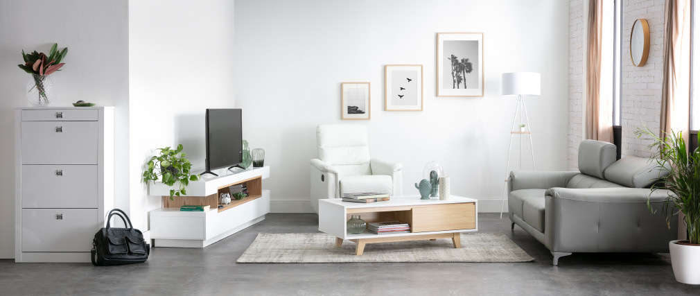 Canapé cuir design trois places avec têtières relax blanc cassé NEVADA - cuir de buffle