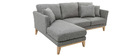 Canapé d'angle gauche scandinave en tissu gris clair déhoussable OSLO