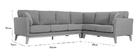 Canapé d'angle scandinave 5-6 places en tissu gris clair déhoussable OSLO