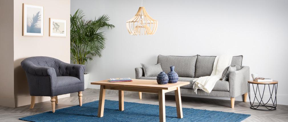 Canapé design 3 places en tissu gris KATE