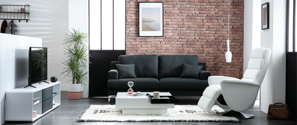 Canapé design 3 places tissu gris foncé BOMEN