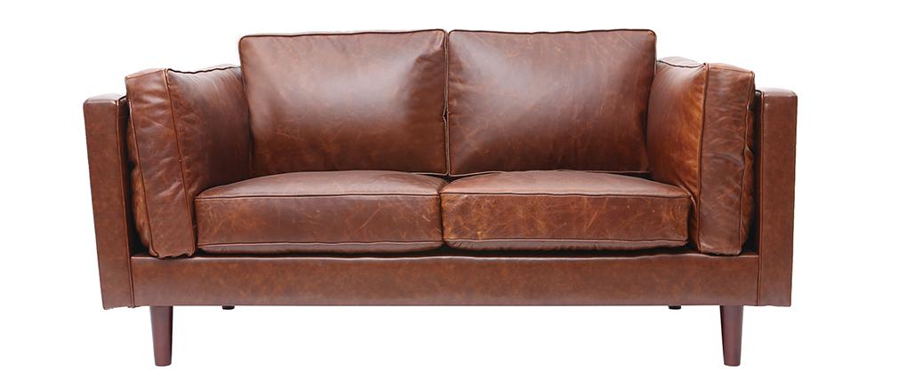 Canapé en cuir vintage 2 places marron CURTIS - cuir de vache