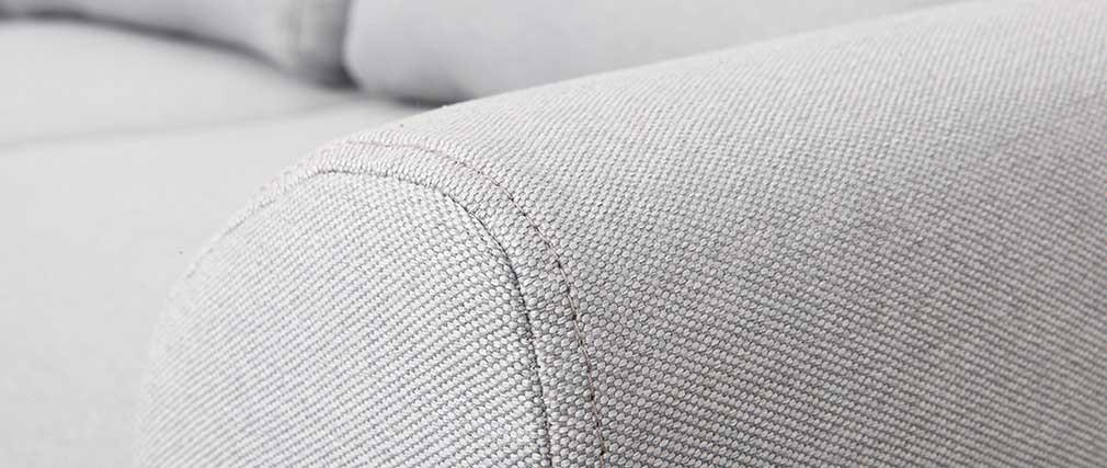 Canapé scandinave 2 places tissu gris et pieds chêne EKTOR