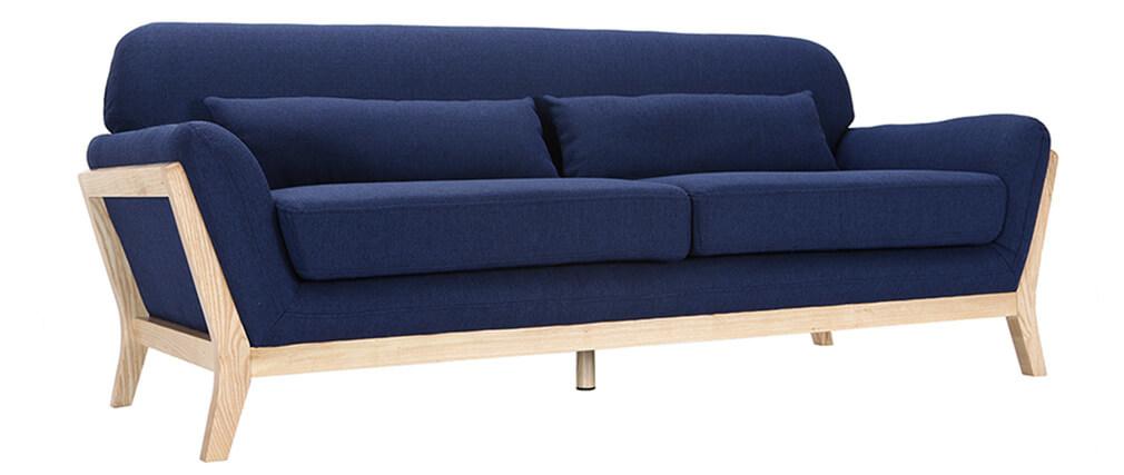 Canapé scandinave 3 places bleu foncé et bois YOKO
