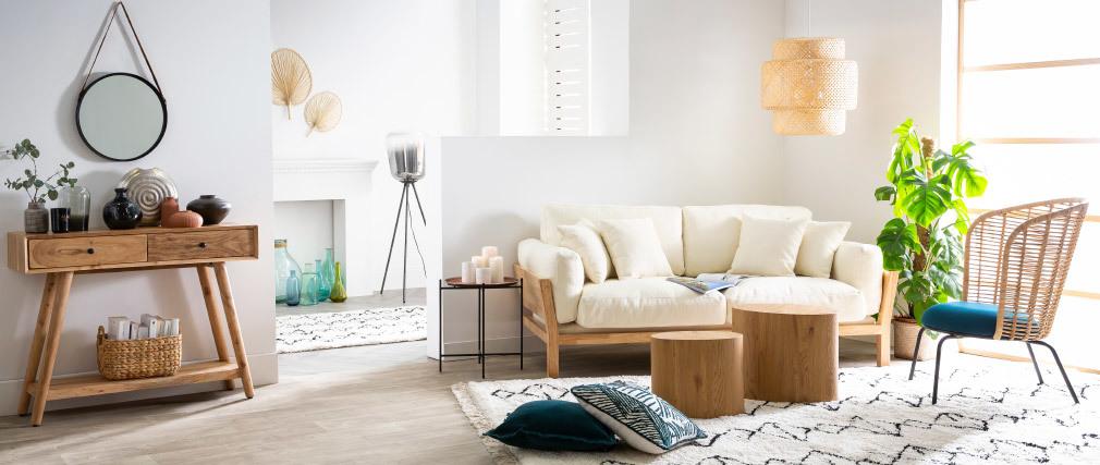 Canapé scandinave 3 places déhoussable blanc crème et bois KYO