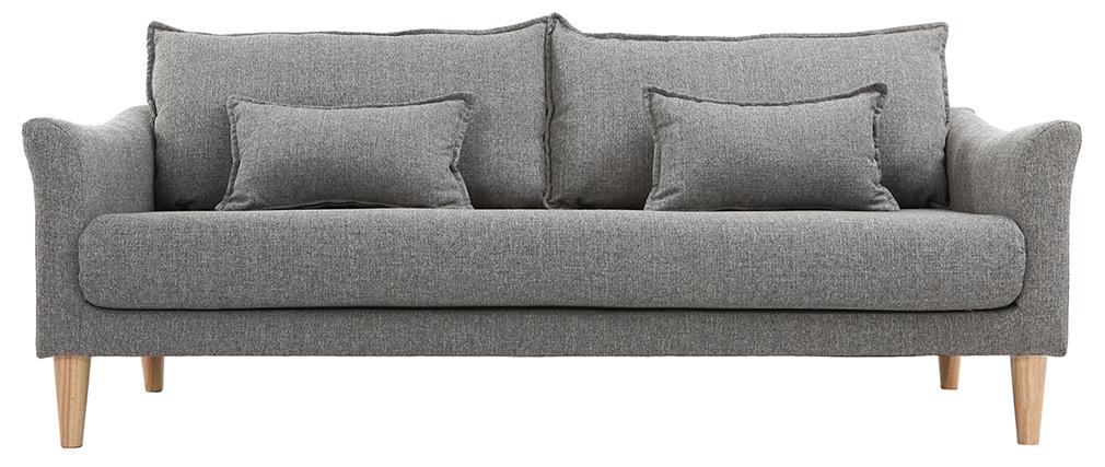 Canapé scandinave 3 places en tissu gris KATE