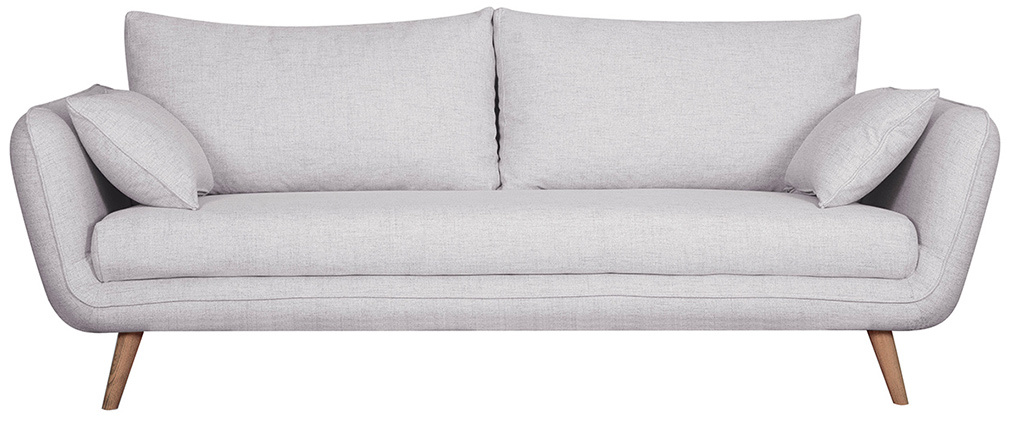 Canapé scandinave 3 places gris clair chiné CREEP