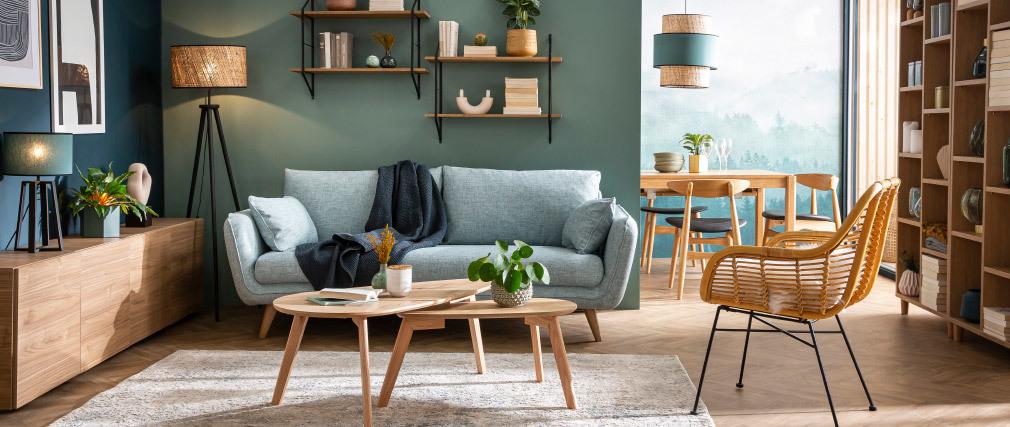 Canapé scandinave 3 places gris clair chiné CREEP