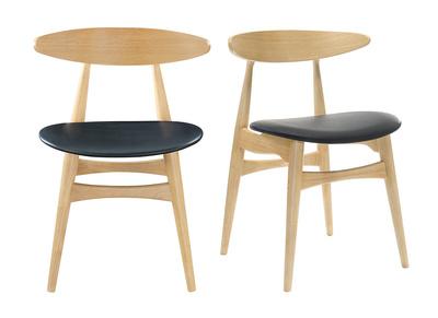 Chaise bois clair et PU noir design scandinave japonais WALFORD