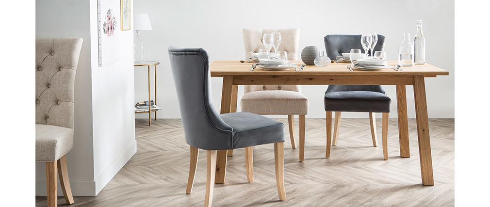 Chaise classique velours gris foncé pieds bois clair GUSTAVE
