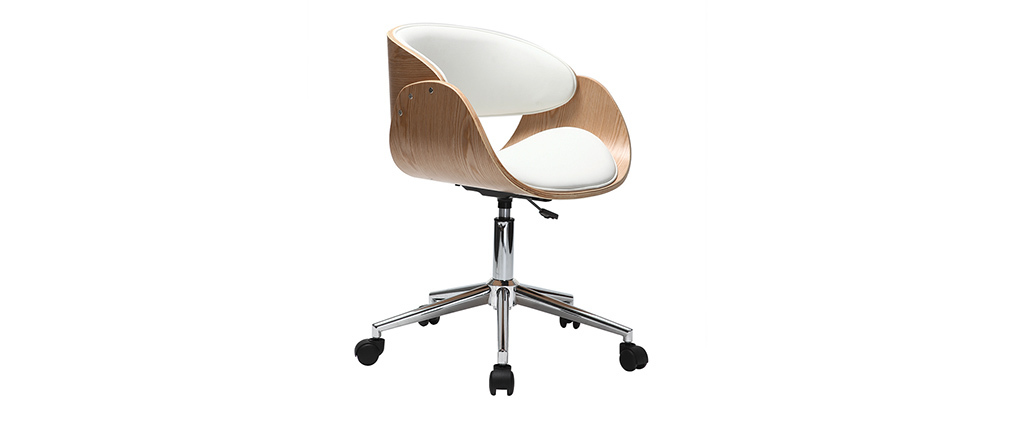 Chaise de bureau à roulettes blanc et bois clair BENT